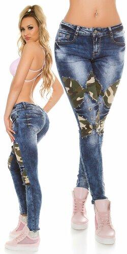 Moderné dámske džínsy s maskáčovými vzormi