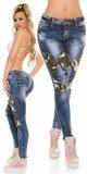 Moderné dámske džínsy s maskáčovými vzormi Modrá