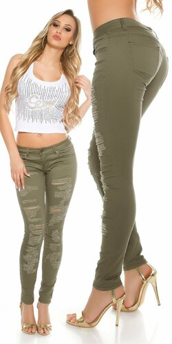 Dámske skinny džínsy s rozparkami