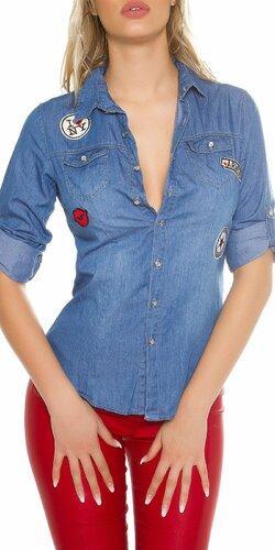 Dámska džínsová košeľa s nášivkami
