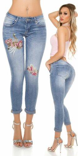 Dámske džínsy s pávom