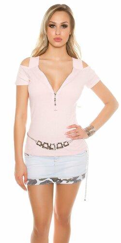 Dámske tričko s odhalenými rukávmi a zipsom Bledá ružová
