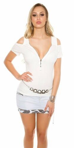 Dámske tričko s odhalenými pleciami a zipsom | Biela