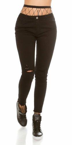 Dámske úzke džínsy s rozparkami na kolenách Čierna