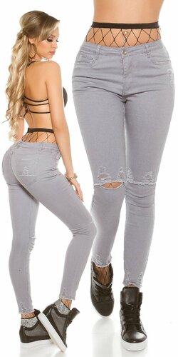 Dámske úzke džínsy s rozparkami na kolenách | Šedá