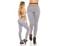 Dámske úzke džínsy s rozparkami na kolenách