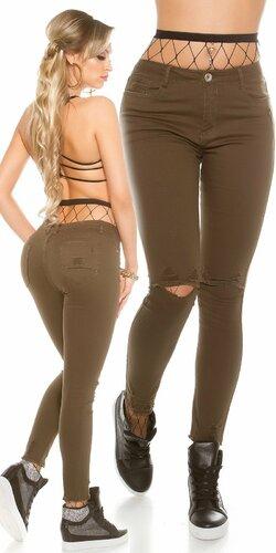 Dámske úzke džínsy s rozparkami na kolenách | Khaki