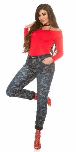 Dámske nohavice pre moletky ,,maskáčový vzhľad,, Modrá