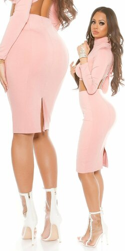 Dámska úzka sukňa KouCla | Bledá ružová