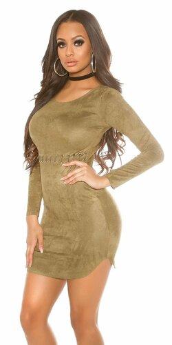 Dámske mini šaty ,,semišového vzhľadu,, s dlhými rukávmi