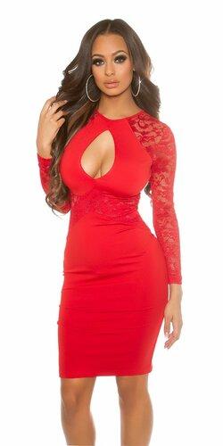 Dámske čipkované midi šaty s veľkým výstrihom