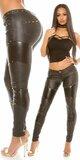 Nohavice kožené s vybíjaním Čierna