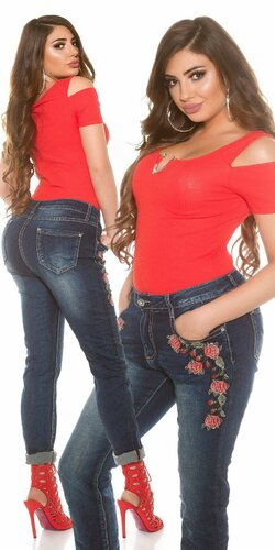 Dámske džínsy pre moletky s ružami