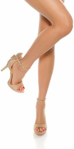 Dámske sandále na podpätku | Béžová