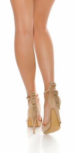 Dámske sandále na podpätku Béžová