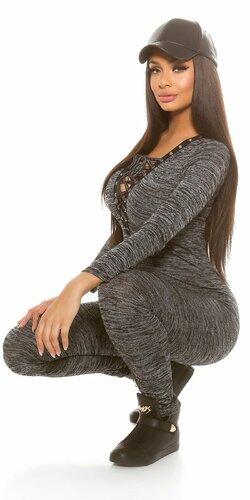 Dámsky jemne pletený overal s viazaním | Čierna