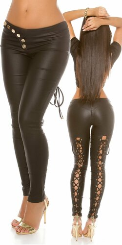 Sexy KouCla nohavice koženého vzhľadu s viazaním