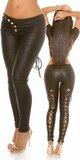 Sexy KouCla nohavice koženého vzhľadu s viazaním Čierna