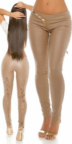 Sexy KouCla nohavice koženého vzhľadu s viazaním | Cappuccino