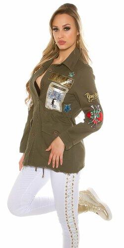Dámska cargo bunda s výšivkami | Khaki