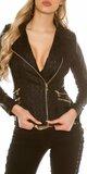 Čierna bunda koženého vzhľadu s čipkou Čierna