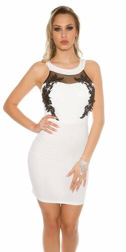 Dámske mini šaty s krásnou výšivkou na dekolte (Biela)