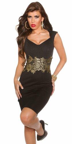 Dámske čierne šaty so zlatou čipkou Čierna