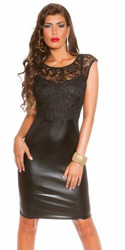 Dámske šaty koženého vzhľadu Čierna