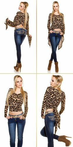 Dámsky moderný top s dlhými rukávmi KouCla Leopard