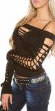 Dámske extravagantné tričko s rozparkami KouCla Čierna