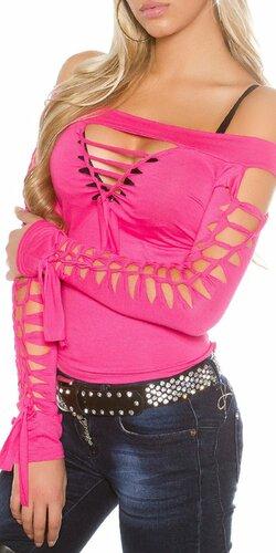 Dámske extravagantné tričko s rozparkami KouCla | Ružová