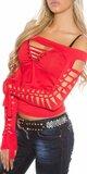 Dámske extravagantné tričko s rozparkami KouCla Červená