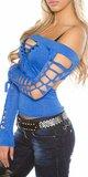 Dámske extravagantné tričko s rozparkami KouCla Kráľovská modrá