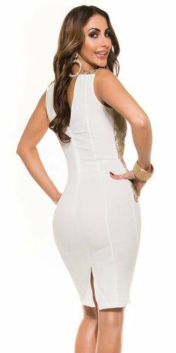 Dámske ,,midi,, šaty s výraznou výšivkou Krémová