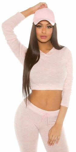 Dámsky klasický sveter krátky s kapucňou KouCla | Bledá ružová