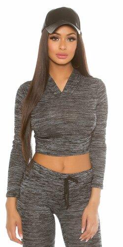 Dámsky klasický sveter krátky s kapucňou KouCla | Čierna