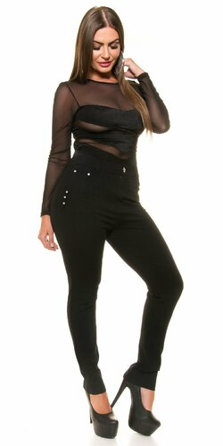 Čierne dámske nohavice pre moletky Čierna
