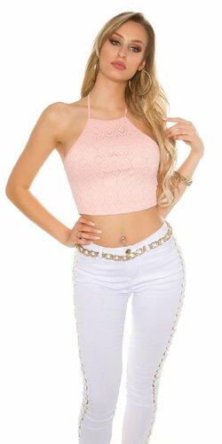 Dámske krátke vzorované tričko (Bledá ružová)