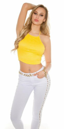 Dámske krátke vzorované tričko (Žltá)
