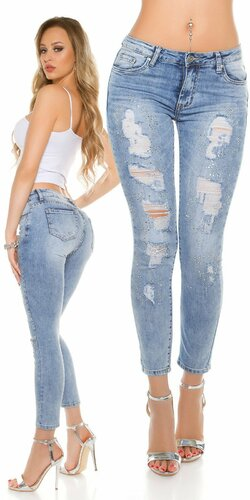 Svetlé džínsy s rozparkami a kamienkami