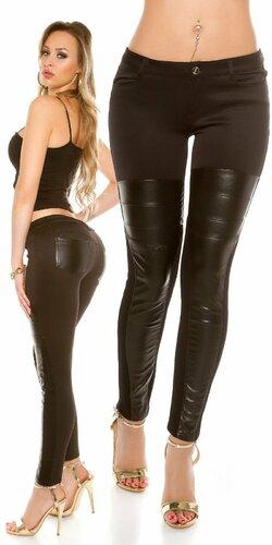 Dámske nohavice s aplikáciami koženého vzhľadu