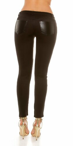 Dámske nohavice s aplikáciami koženého vzhľadu Čierna