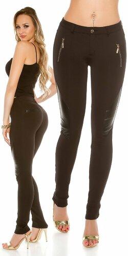 Dámske nohavice koženého vzhľadu | Čierna
