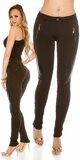 Dámske nohavice koženého vzhľadu Čierna