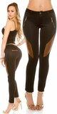Dámske nohavice koženého vzhľadu Čierno-hnedá