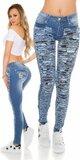 Dámske skinny džínsy s rozparkami a maskáčovými vzormi
