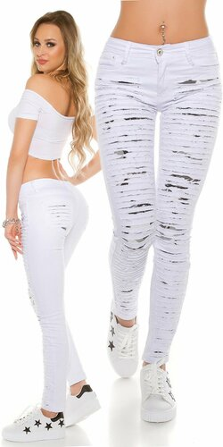Dámske úzke džínsy biele s rozparkami