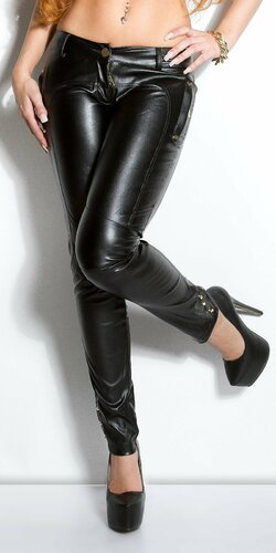 Dámske nohavice koženého vzhľadu s vreckami | Čierna