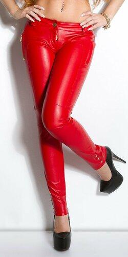 Dámske nohavice koženého vzhľadu s vreckami