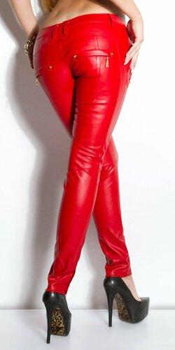 Dámske nohavice koženého vzhľadu s vreckami Červená
